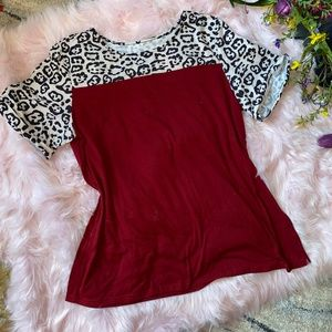 Leopard Print & Burgundy Short Sleeve Tee Top 2X